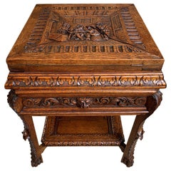 19th Century French Carved Oak Game Card Table Breton Brittany Flip Top Side Tab