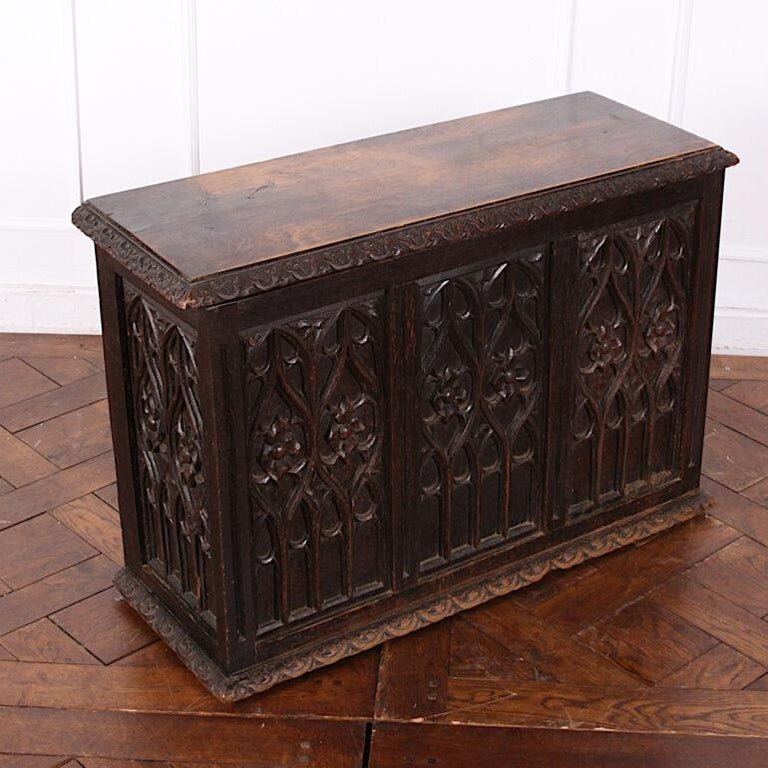 Gothic Revival 19th Century French Carved Oak Gothic Style Paneled Coffer Chest Coffre For Sale
