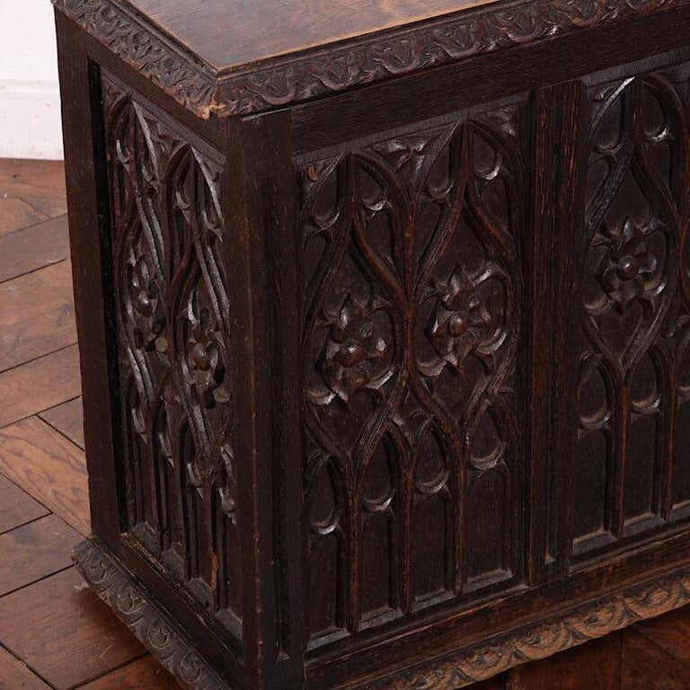 Hand-Carved 19th Century French Carved Oak Gothic Style Paneled Coffer Chest Coffre For Sale
