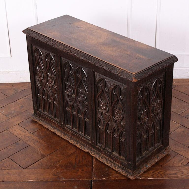 19th Century French Carved Oak Gothic Style Paneled Coffer Chest Coffre In Good Condition For Sale In Vancouver, British Columbia