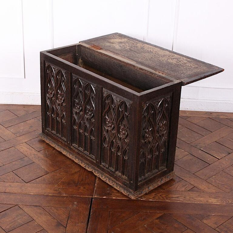 19th Century French Carved Oak Gothic Style Paneled Coffer Chest Coffre For Sale 1