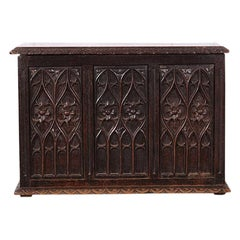 19th Century French Carved Oak Gothic Style Paneled Coffer Chest Coffre