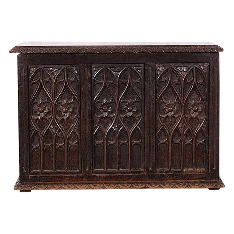 19th Century French Carved Oak Gothic Style Paneled Coffer Chest Coffre For Sale