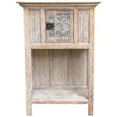 19th Century French Carved Oak Gothic Vestment Cabinet Religious Bleached Wood