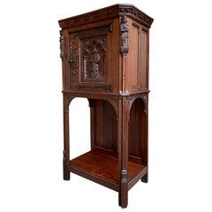 19th Century French Carved Oak Gothic Vestment Cabinet Religious Catholic Prayer