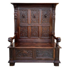 19th century French Carved Oak Hall Bench Pew Gothic Breton Renaissance Settle