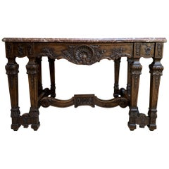 19th Century French Carved Oak Hall Center Table a Gibier Marble Top Louis XIV