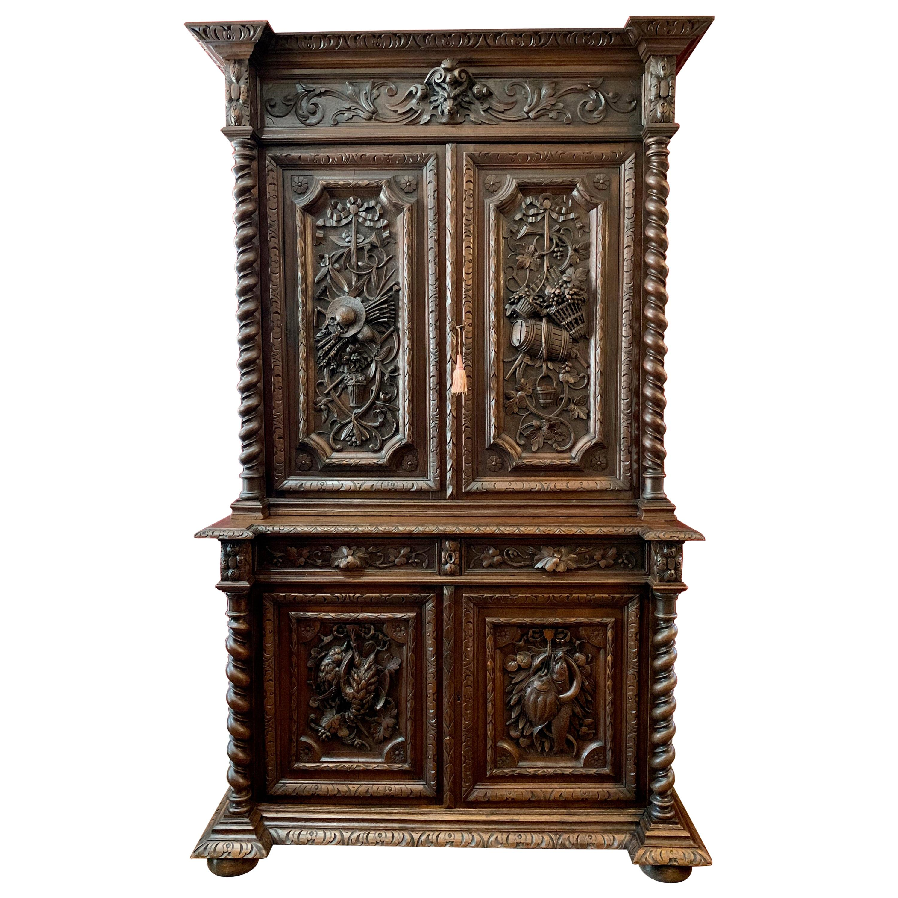 19th Century French Carved Oak Hunt Cabinet Bookcase Barley Twist Renaissance
