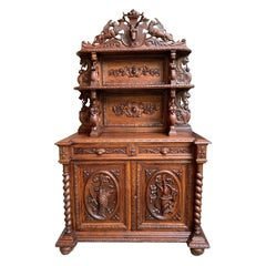 19th Century French Carved Oak Hunt Cabinet Bookcase Black Forest Barley Twist