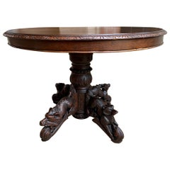 19th Century French Carved Oak Oval Dining Hunt Table Black Forest Animal Lodge