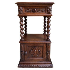 19th century French Carved Oak Side Cabinet Table Barley Twist Marble Louis XIII