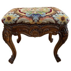 19th Century French Carved Oak Stool Bench Louis XV Style Tabouret Needlepoint