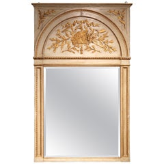 19th Century French Carved Painted and Gilt Trumeau Mirror from Provence