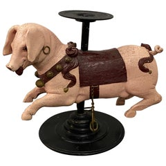 19th Century French Carved and Painted Carousel Pig on Stand