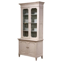 19th Century French Carved Painted Display Cabinet Buffet with Glass Doors