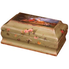 19th Century French Carved Painted Green Jewelry Box with Courting Scene