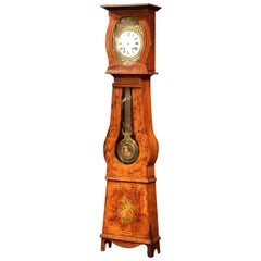 19th Century French Carved Painted Pine Comtoise Grandfather Clock from Normandy