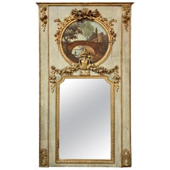 19th Century French Carved Painted Trumeau Mirror