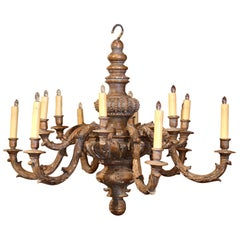 19th Century French Carved Painted with Gilt Twelve-Light Chandelier