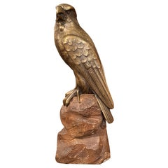 19th Century French Carved Patinated Bronze Eagle Sculpture on Stone Base