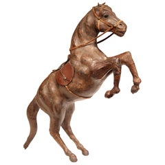 19th Century French Carved Patinated Leather Rearing Horse Sculpture