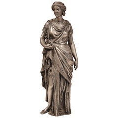 19th Century French Carved Patinated Pewter Roman Woman Sculpture