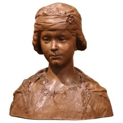 19th Century French Carved Patinated Terracotta Bust Signed J. J. Frere