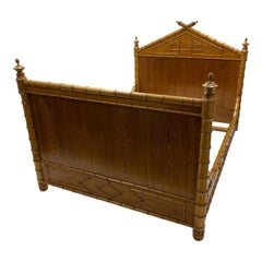19th Century French Carved Pine Faux Bamboo Bed