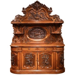 19th Century French Carved Rosewood Hunt Buffet with Deer and Bird Motifs