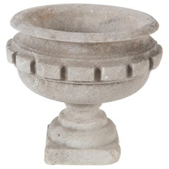 19th Century French Carved Stone Planter / Urn with Dental Trim