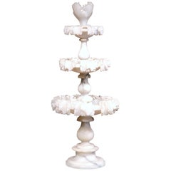 19th Century French Carved Three-Tier Alabaster Display Centerpiece