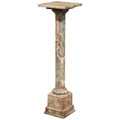 19th Century French Carved Variegated Marble Pedestal Table with Swivel Top