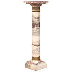 19th Century French Carved Variegated Marble Pedestal Table with Brass Rings
