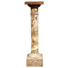 19th Century French Carved Variegated Marble Pedestal with Square Swivel Top