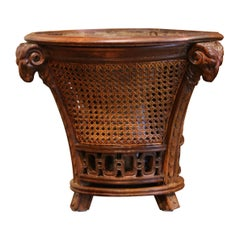 19th Century French Carved Walnut and Cane Jardiniere with Inside Zinc Liner