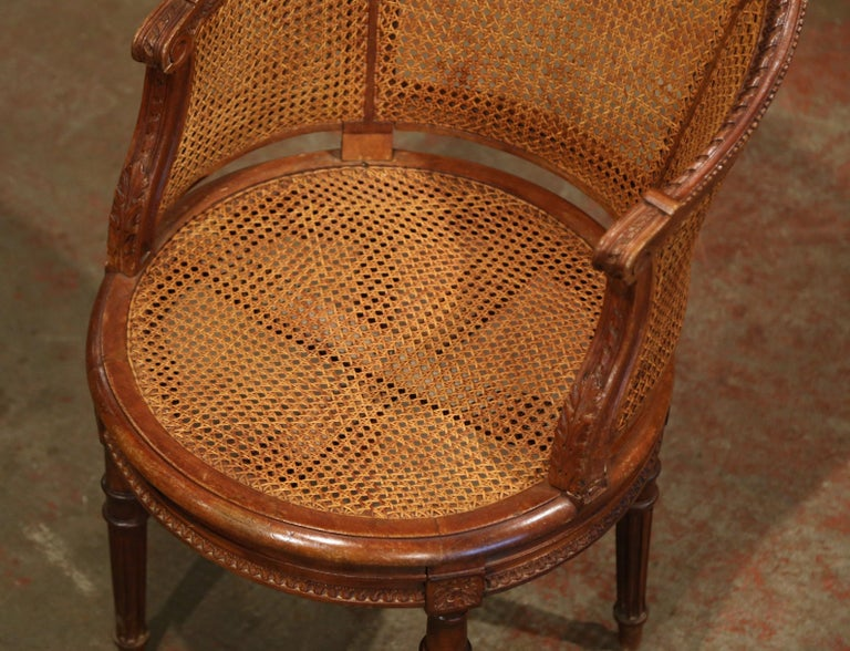 19th Century French Carved Walnut and Cane Swivel Desk Armchair with Leather For Sale 5