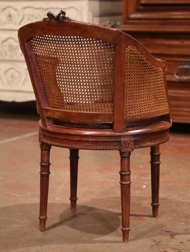 19th Century French Carved Walnut and Cane Swivel Desk Armchair with Leather For Sale 6