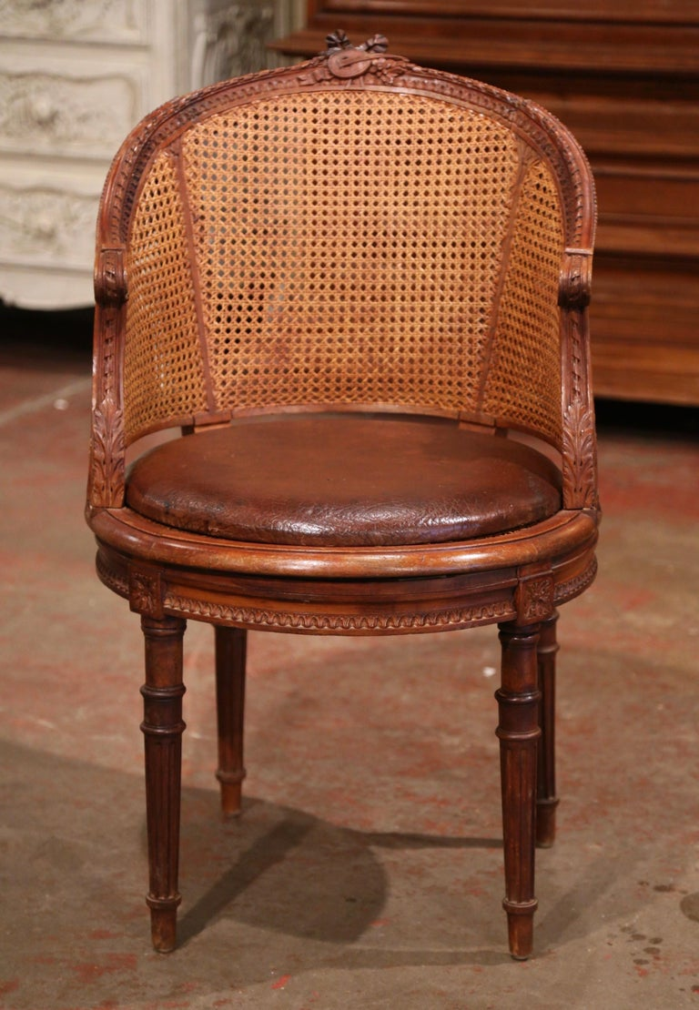 19th Century French Carved Walnut and Cane Swivel Desk Armchair with Leather For Sale 2