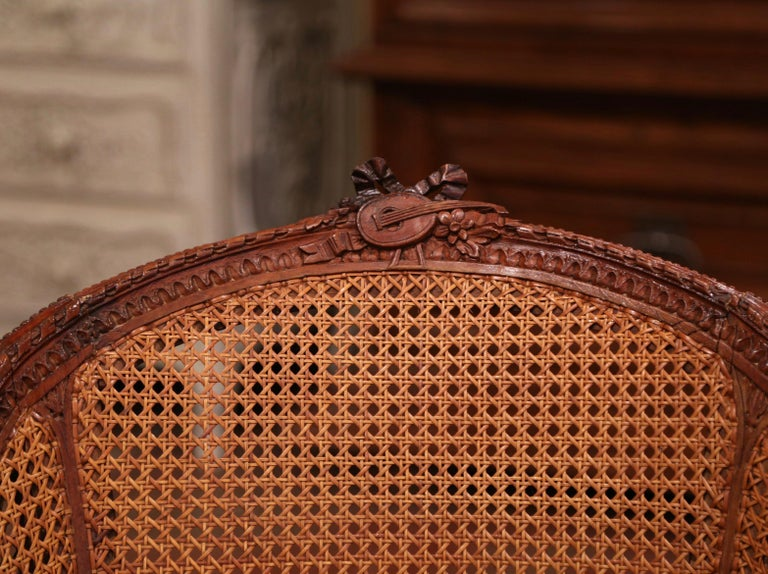 19th Century French Carved Walnut and Cane Swivel Desk Armchair with Leather For Sale 3