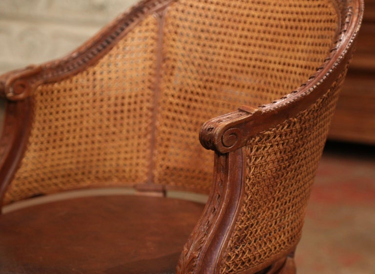19th Century French Carved Walnut and Cane Swivel Desk Armchair with Leather For Sale 4