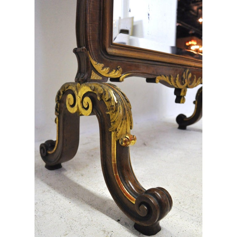 Beveled 19th Century French Louis XV Carved Walnut and Gilt Free Standing Cheval Mirror For Sale