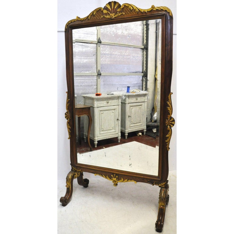 19th Century French Louis XV Carved Walnut and Gilt Free Standing Cheval Mirror In Excellent Condition For Sale In Dallas, TX