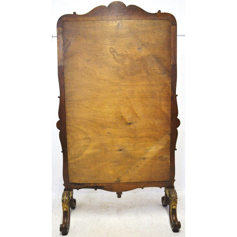 Mercury Glass 19th Century French Louis XV Carved Walnut and Gilt Free Standing Cheval Mirror For Sale