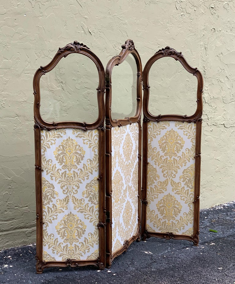 Victorian 19th Century French Carved Walnut and Glass, Three-Fold Ulholstered Screen For Sale