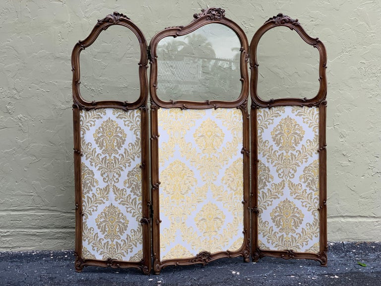 Fabric 19th Century French Carved Walnut and Glass, Three-Fold Ulholstered Screen For Sale