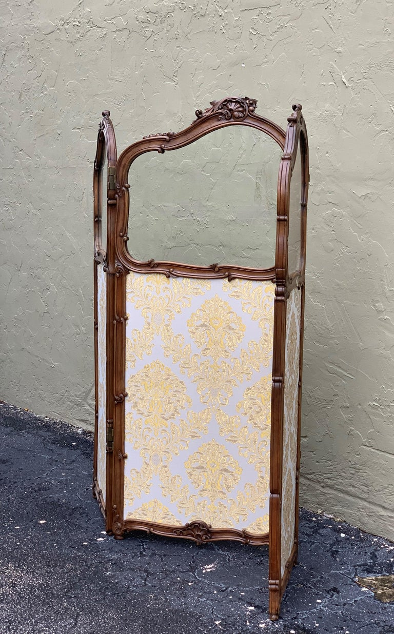 19th Century French Carved Walnut and Glass, Three-Fold Ulholstered Screen For Sale 2