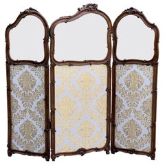 19th Century French Carved Walnut and Glass, Three-Fold Ulholstered Screen