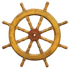19th Century French Carved Walnut and Iron Painted Sailboat Wheel