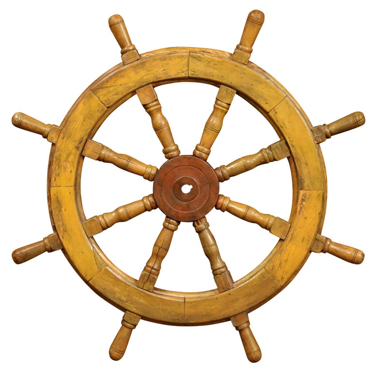 19th Century French Carved Walnut and Iron Painted Sailboat Wheel For Sale