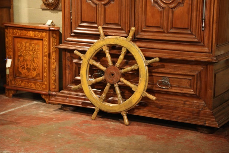 Patinated 19th Century French Carved Walnut and Iron Painted Sailboat Wheel For Sale